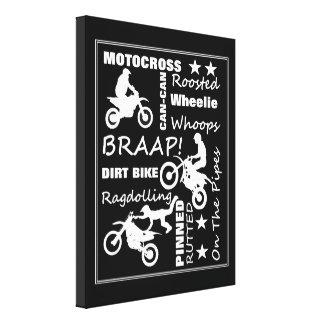 Motocross Dirt Bike Sports Terminology Typography Canvas Print