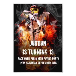 Motocross fire and smoke 13 cm x 18 cm invitation card