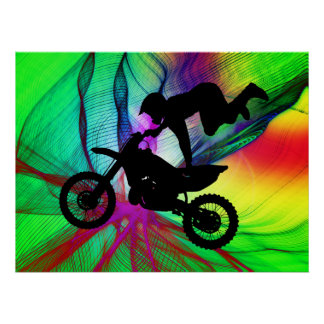 Motocross in Psychedelic Spider Web Print