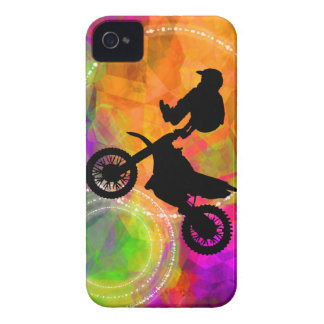 Motocross Jump in Fire Circles iPhone 4 Covers