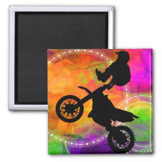 Motocross Jump in Fire Circles Refrigerator Magnet