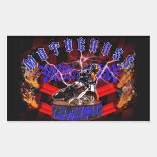 Motocross mufflers shooting fire rectangular sticker