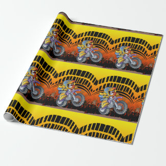 Motocross racer tearing up the track wrapping paper