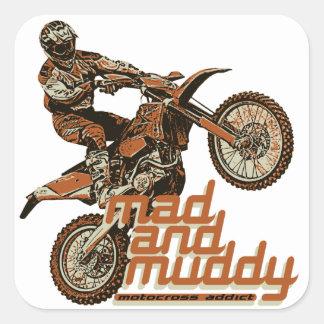 Motocross racers square sticker