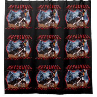 Motocross racing hard with lightning shower curtain