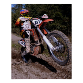 Motocross rider pulling a wheelie poster