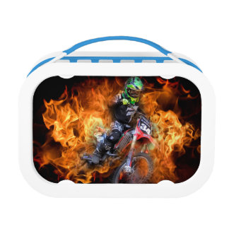 Motocross rider racing through fire lunch box