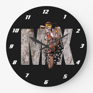Motocross rider shattering the rock mx large clock