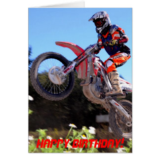 Motocross rider taking off birthday card