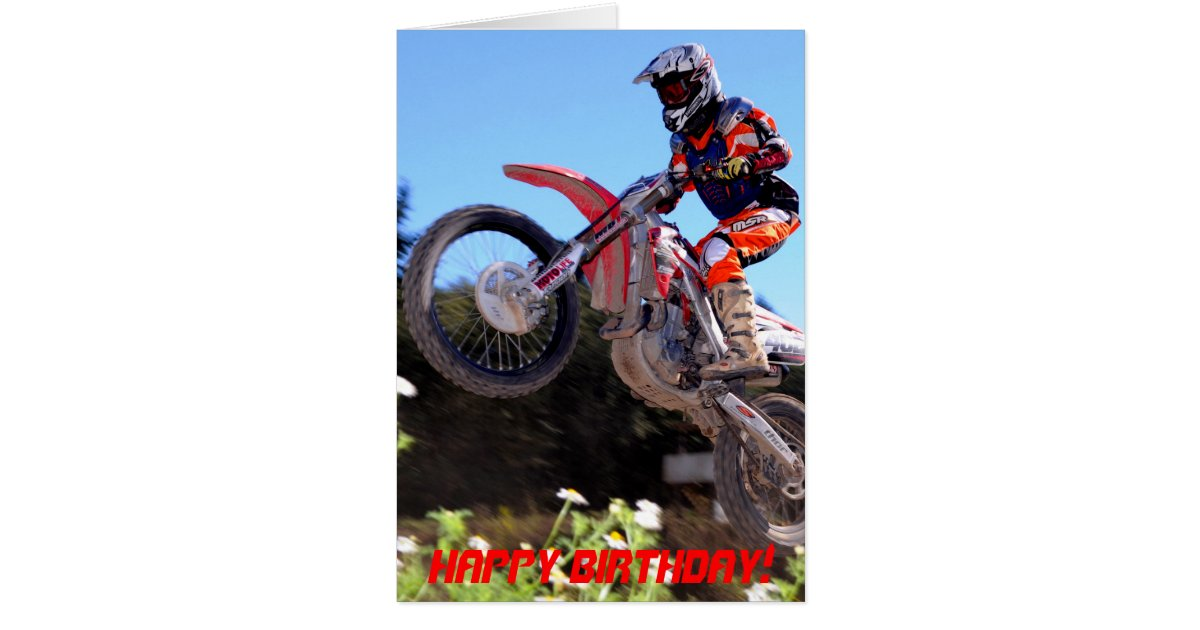Motocross rider taking off birthday card – Motocross Birthday Cards