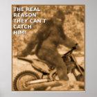 Motocross Sasquatch Dirt Bike Big Foot Funny Poste Poster