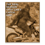 Motocross Sasquatch Dirt Bike Big Foot Funny Poste Poster