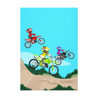 Motocross several children competing in the track canvas print