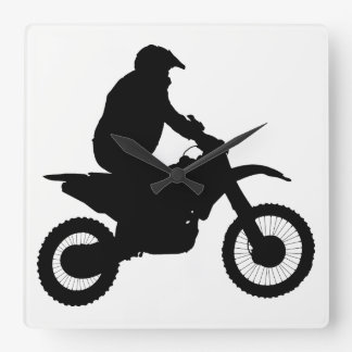 Motocross Silhouette Square Wall Clock