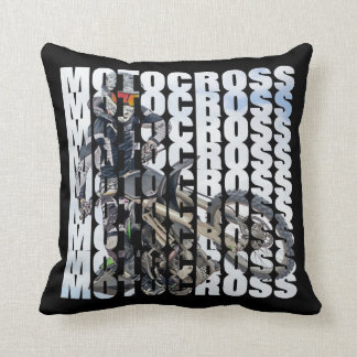 Motocross Sports Dirt Biker Photo Typography Cushion