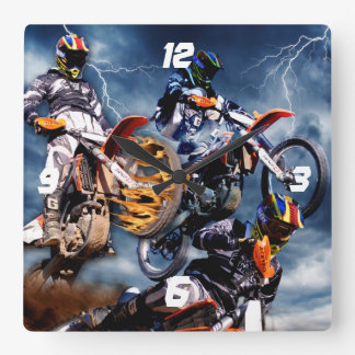 Motocross Square Wall Clock