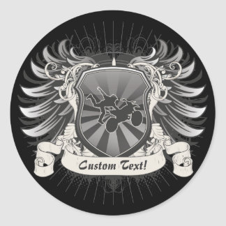 Motocross Stunt Crest Classic Round Sticker