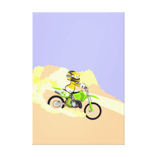 Motocross young at full speed in the desert canvas print