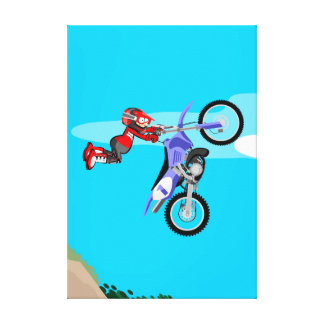 Motocross young doing sentadillas in the air canvas print