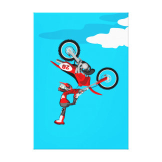 Motocross young intrepid showing its feat canvas print