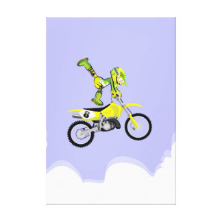 Motocross young makes acrobatics in the air canvas print