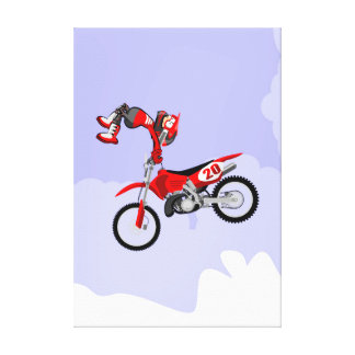 Motocross young occurring the return with its canvas print