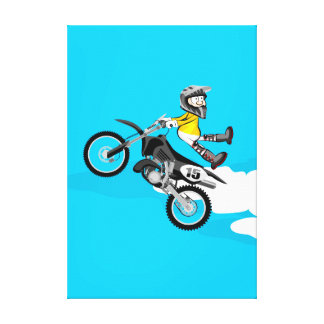 Motocross young of the yellow equipment makes canvas print