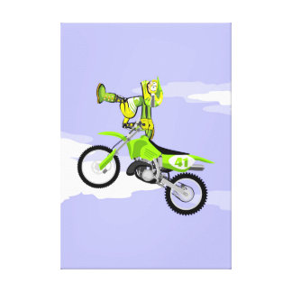 Motocross young seated in the handlebars canvas print