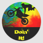 Motocrossing in a Solar Flare Up Round Sticker