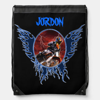 Motocrossrider and blue flames drawstring bag