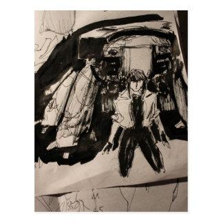 """""""Motoko and Tank"""" Postcard"""