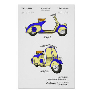 Motor Bicycle Patent Circa 1949- Blue Poster