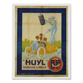 Motor oil French retro illustration vintage image Poster