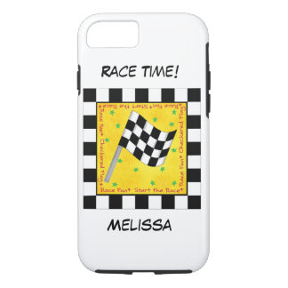 Motor Race Time Black on White Chequered Flag Name iPhone 7 Case