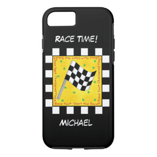 Motor Race Time Black White Chequered Flag Name iPhone 7 Case
