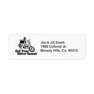 Motor Runnin Motorcycle Return Address Label
