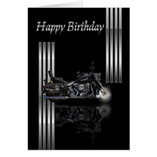 Motorbike Birthday Card Metallic