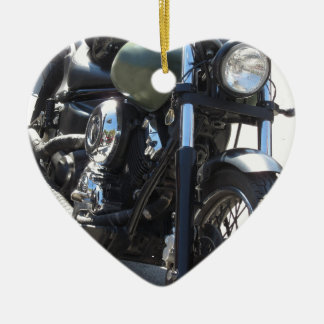 Motorbike in the parking lot . Outdoors lifestyle Ceramic Heart Decoration