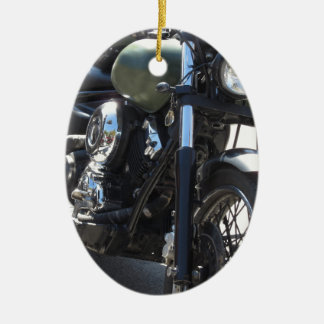Motorbike in the parking lot . Outdoors lifestyle Ceramic Oval Decoration