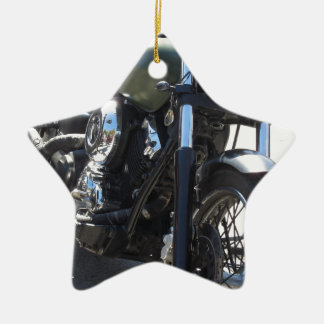 Motorbike in the parking lot . Outdoors lifestyle Ceramic Star Decoration