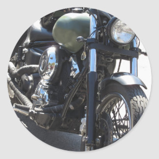 Motorbike in the parking lot . Outdoors lifestyle Classic Round Sticker