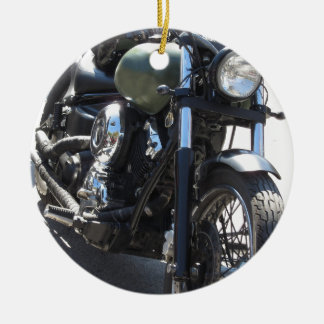 Motorbike in the parking lot . Outdoors lifestyle Round Ceramic Decoration