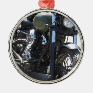 Motorbike in the parking lot . Outdoors lifestyle Silver-Colored Round Decoration