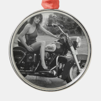 Motorbike Pinup Girl Silver-Colored Round Decoration