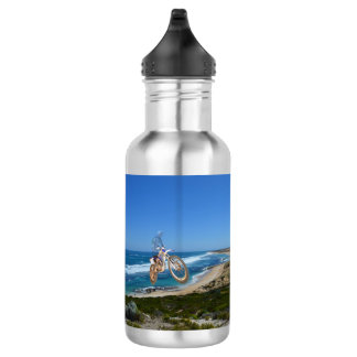 Motorbike Riding Up Cliff, Reusable Water Bottle