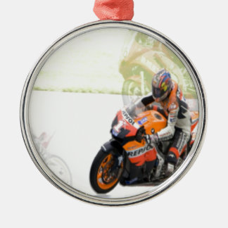 Motorbike Silver-Colored Round Decoration