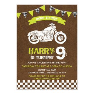Motorbike themed birthday party invitation