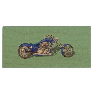 Motorcycle 1 - Blue Wood USB 2.0 Flash Drive