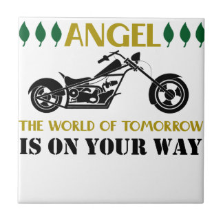 Motorcycle Angel Ceramic Tile