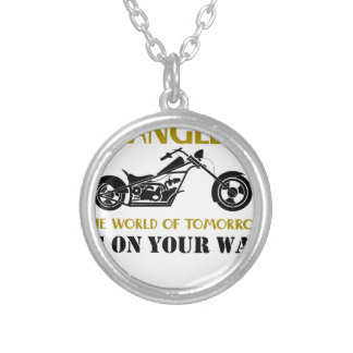 Motorcycle Angel Silver Plated Necklace